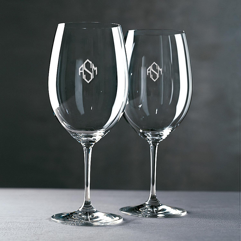 monogrammed riedel vinum cabernet merlot bordeaux wine glasses