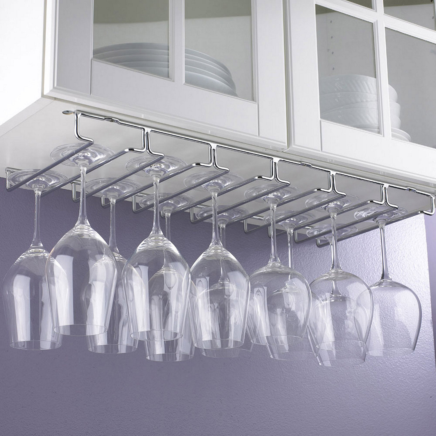 large under cabinet stemware rack  wine enthusiast -  under cabinet stemware rack preparing zoom