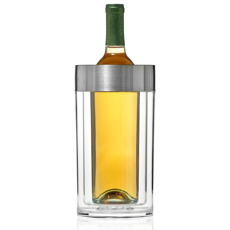 doublewall iceless wine bottle chiller  wine enthusiast - preparing zoom