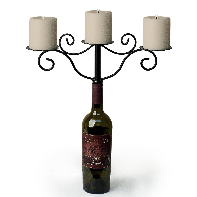 Wine Bottle Candelabra Antiqued Finish