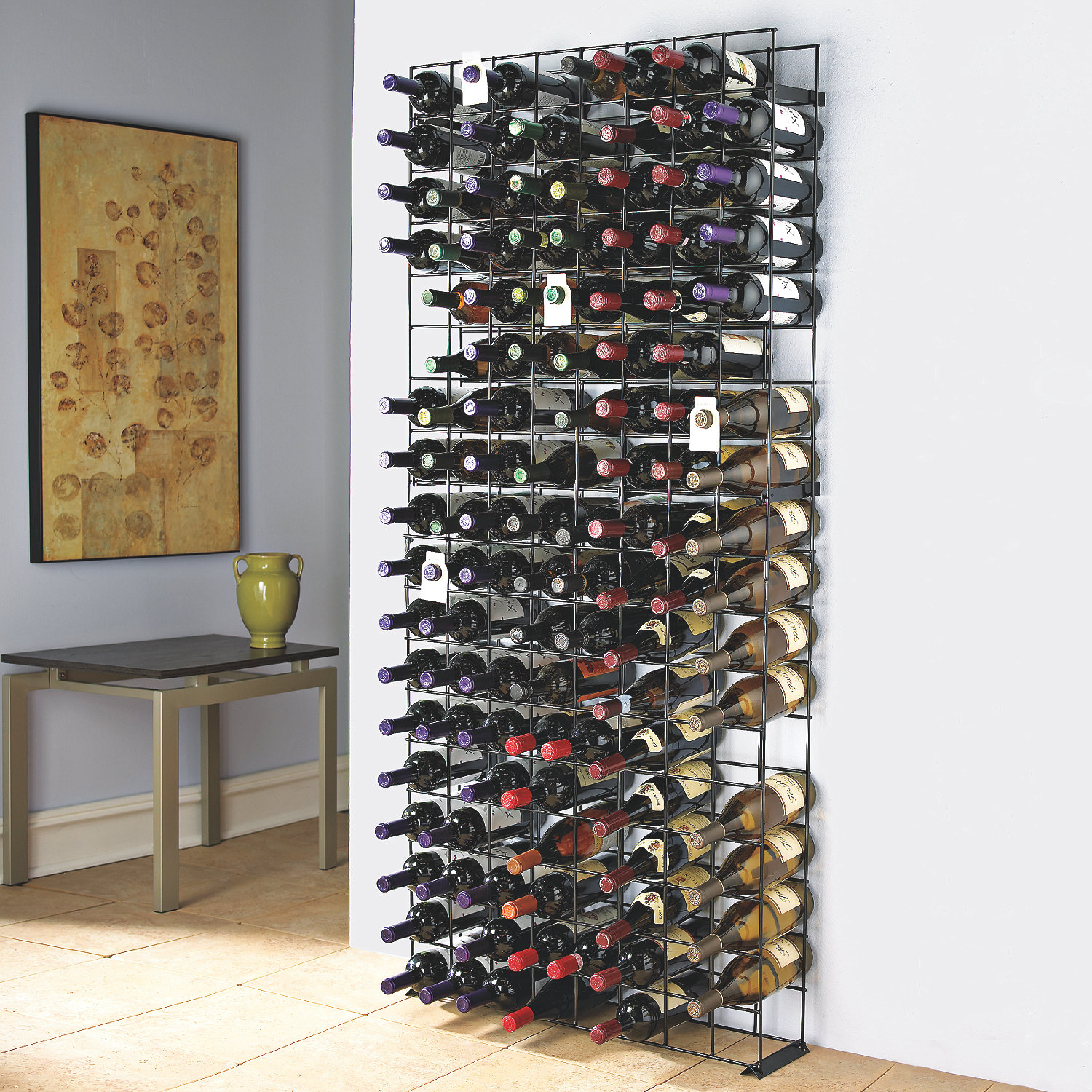 Uncategorized Floor Standing Wine Racks 144 bottle black tie grid wine enthusiast preparing zoom