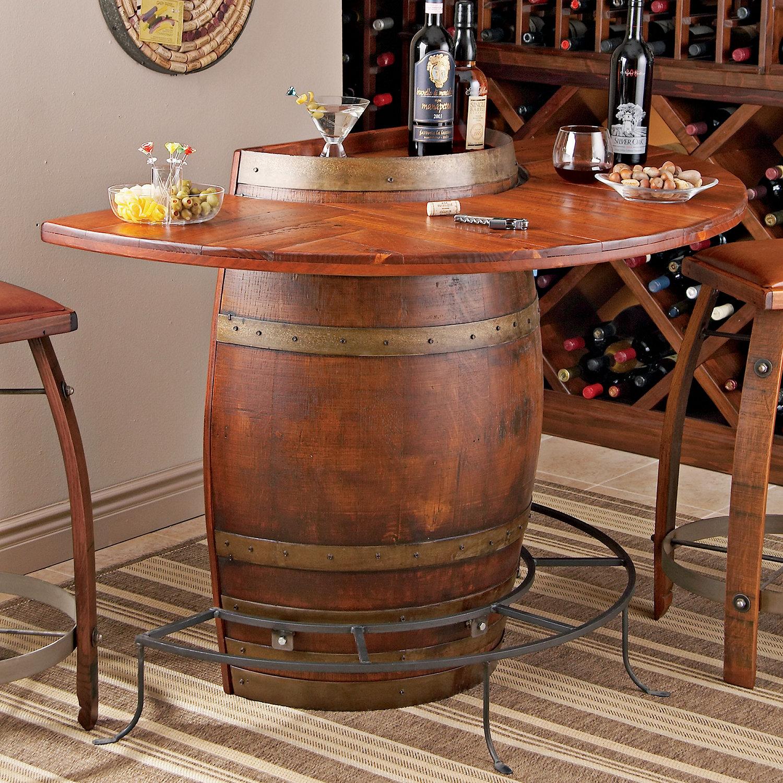 Shop custom wine barrel furniture tables and sets wine barrel -  Furniture Vintage Oak Half Wine Barrel Bar Preparing Zoom