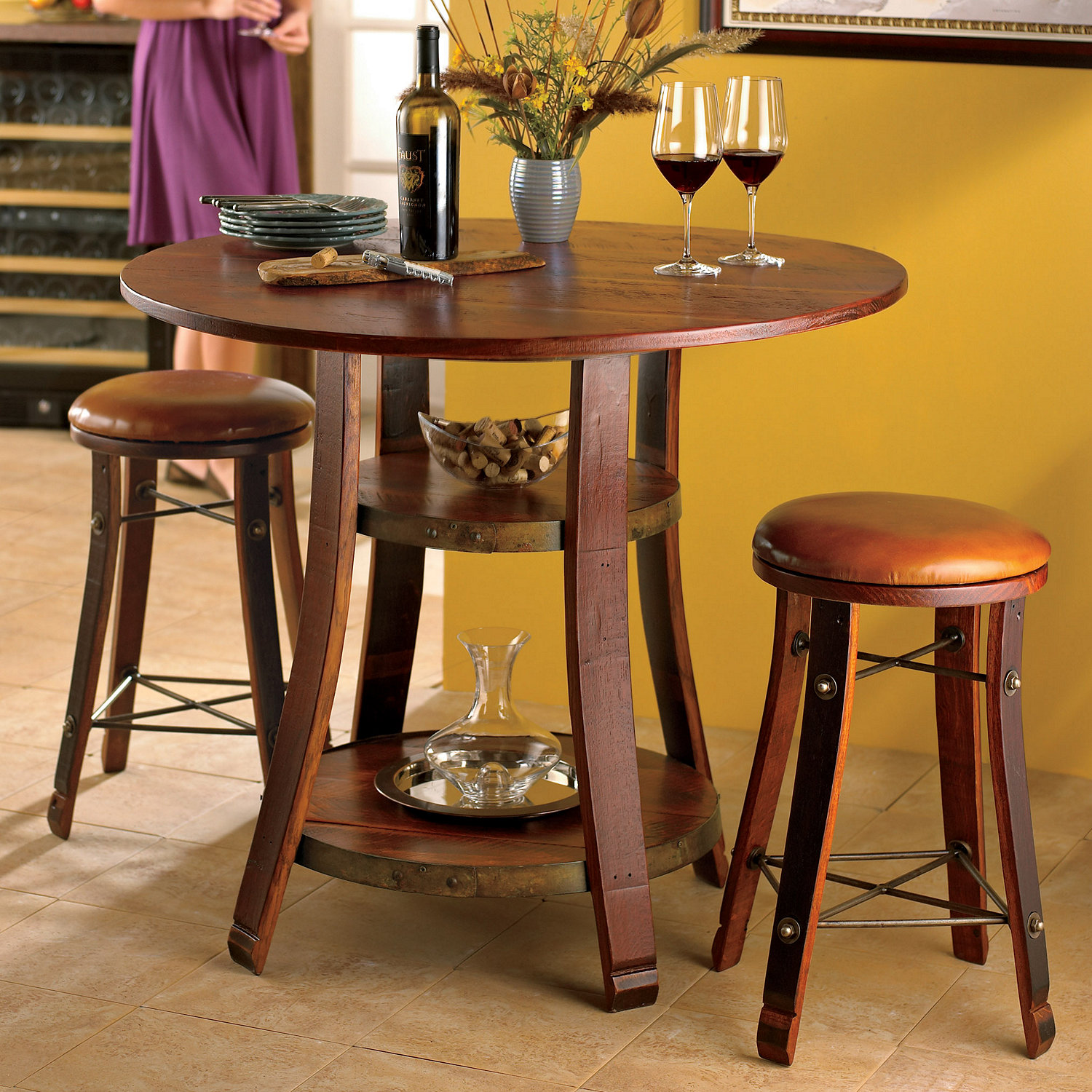 Preparing Zoom & Vintage Oak Bistro Table u0026 Bar Stools with Leather Seats - Wine ... islam-shia.org