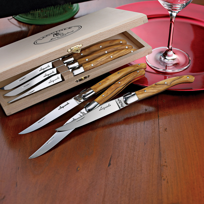 jean dubost laguiole 6 piece steak knives olivewood wine