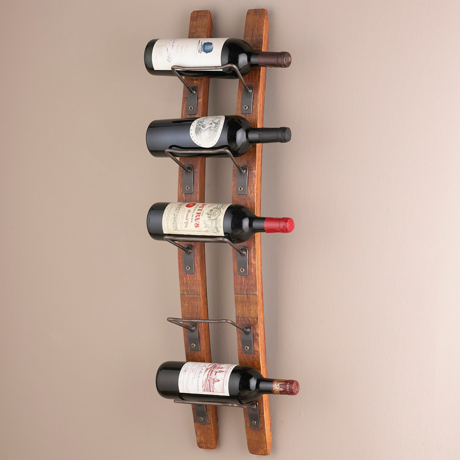 barrel stave wall wine rack  wine enthusiast -