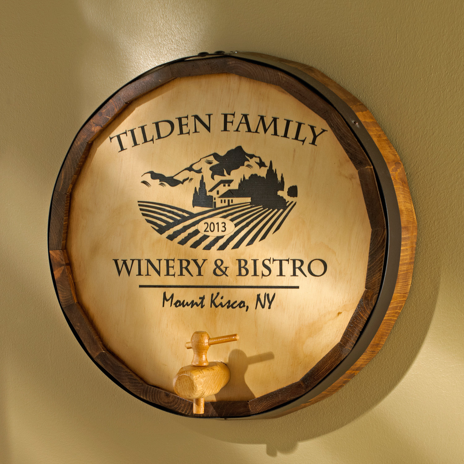 Personalized Oak Wine Barrel Top Sign with Chateau - Wine Enthusiast