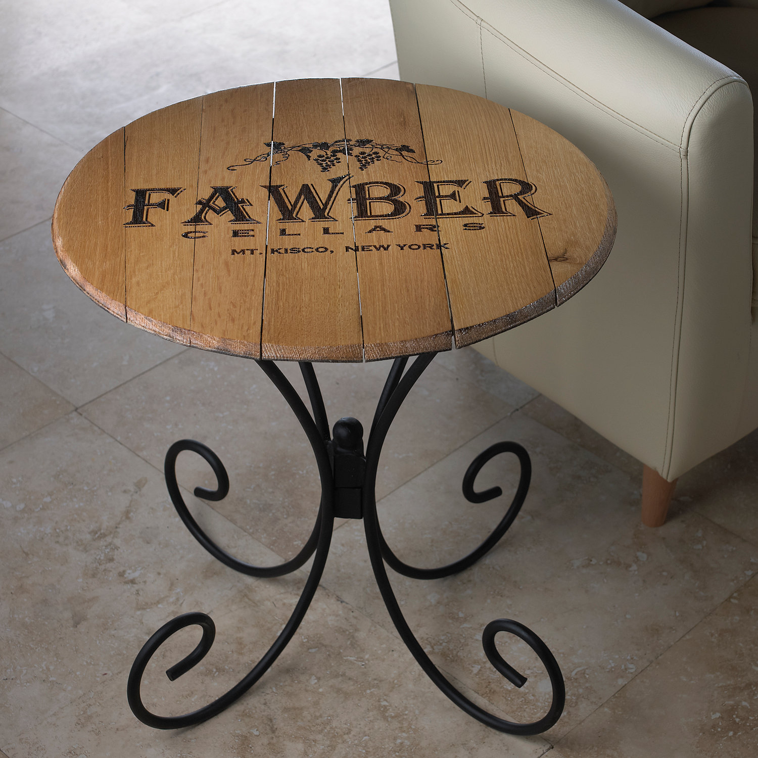 Authentic Barrel Head End Table With Personalized Wine Theme Wine