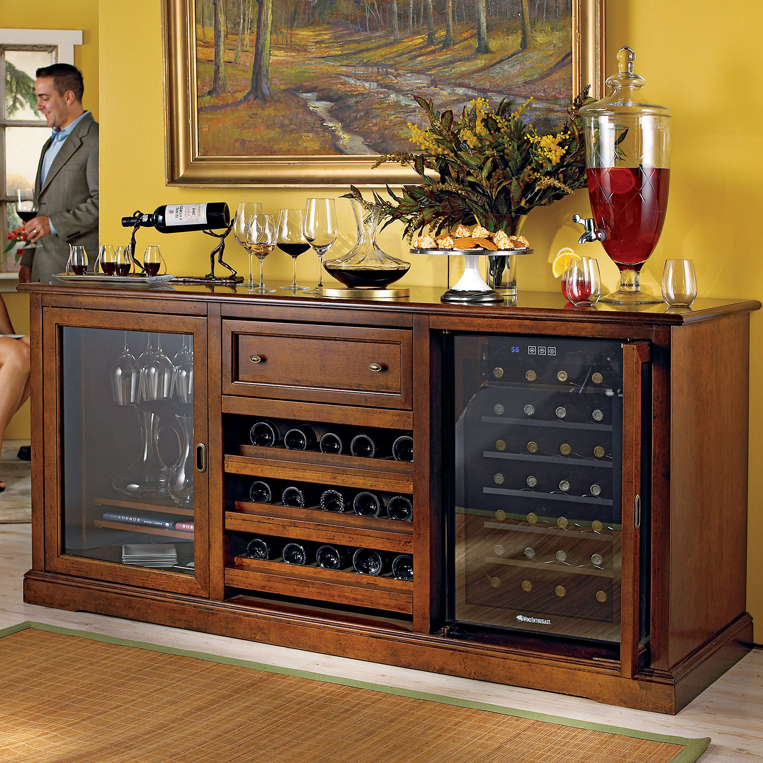 Siena Wine Credenza Walnut with Wine Refrigerator Wine Enthusiast
