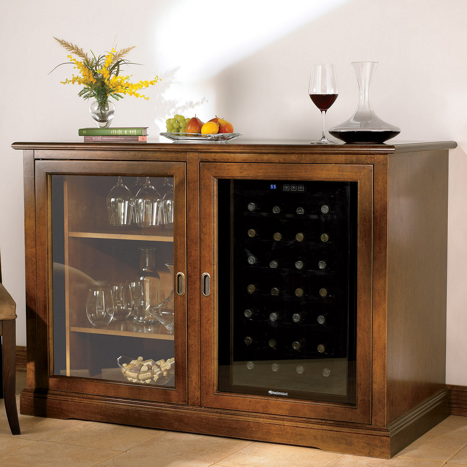 Siena Mezzo Wine Credenza (Walnut) with Wine Refrigerator - Wine ...