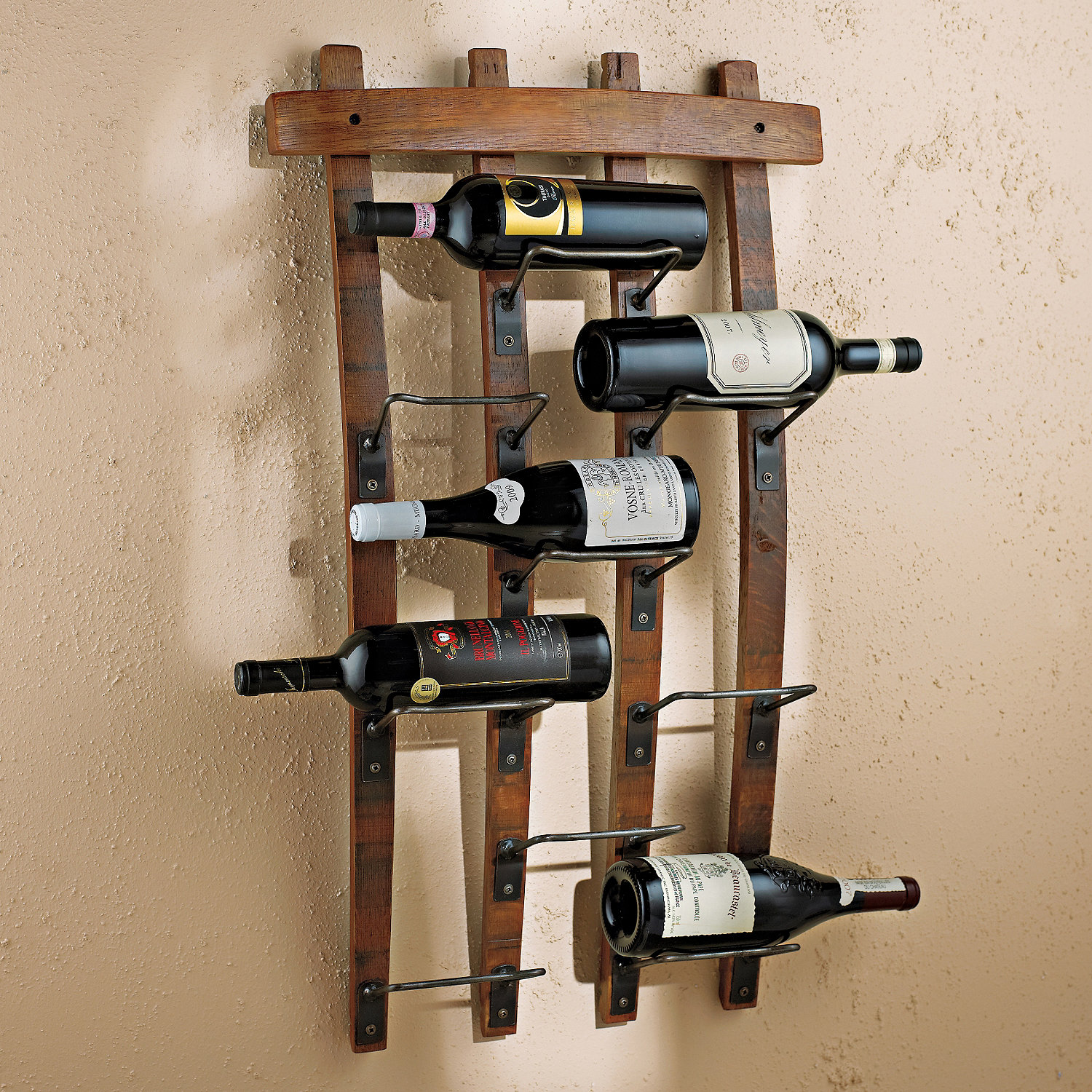 barrel stave wall rack  wine enthusiast - preparing zoom