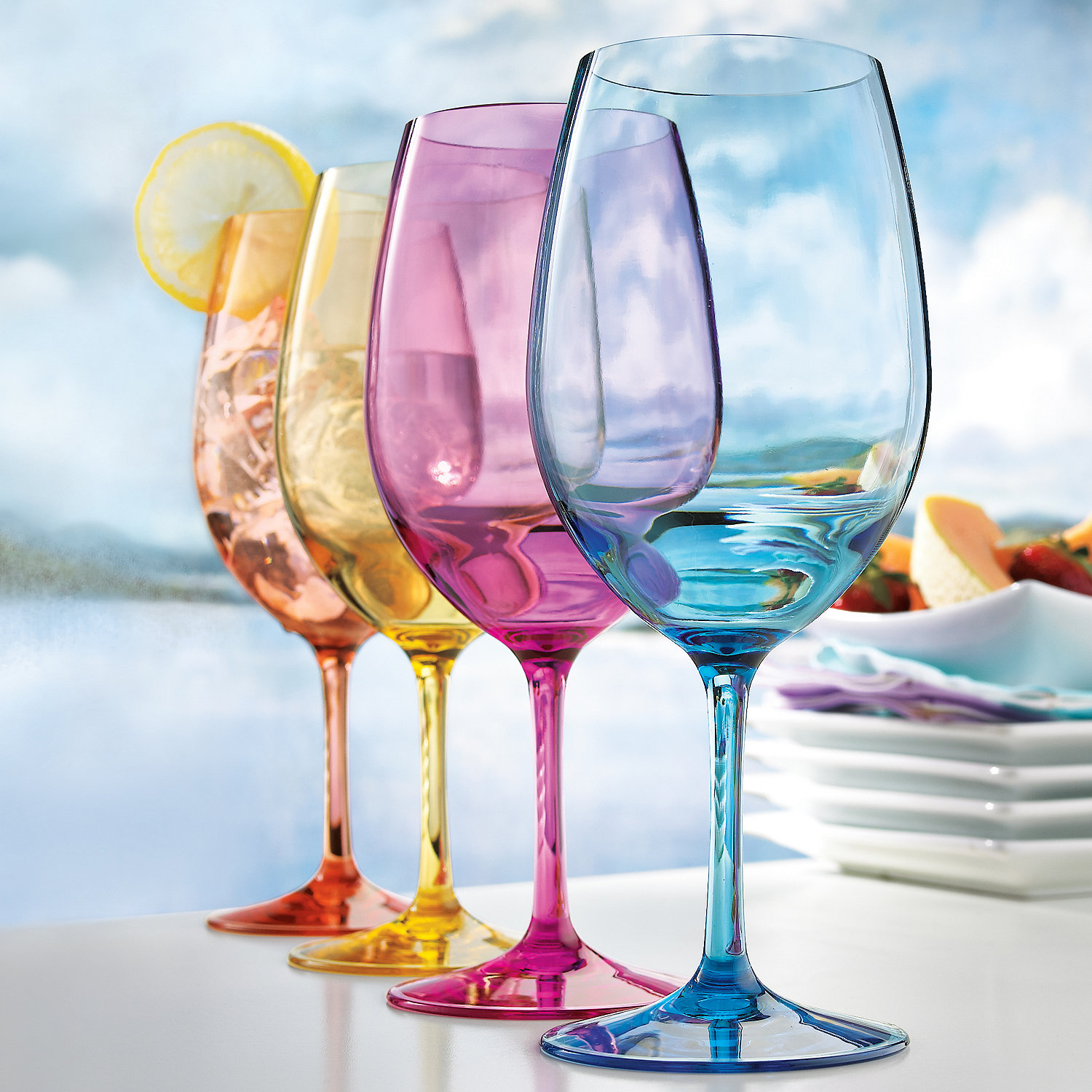 indoor outdoor mixed color wine glasses set of 4 wine enthusiast