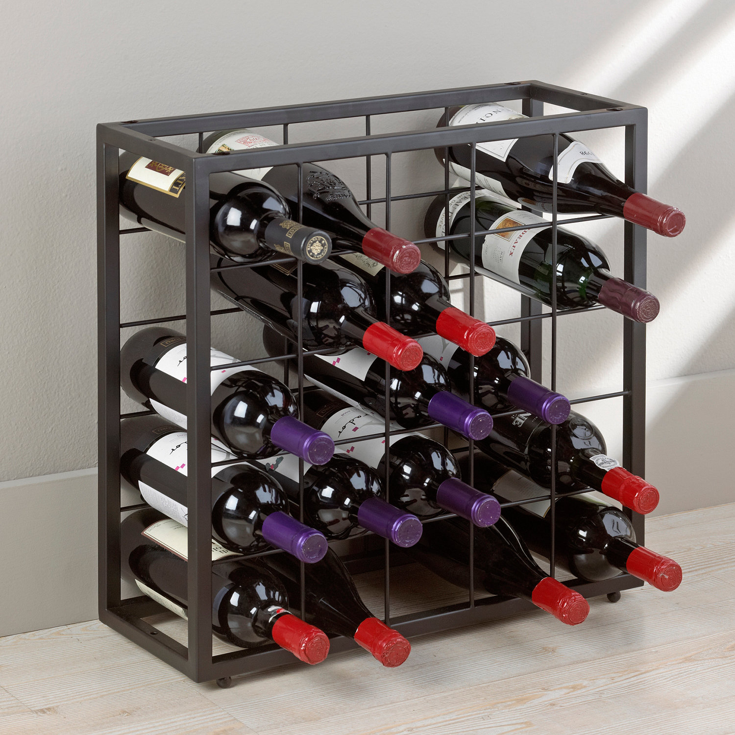 Wine Bottle Storage Angle Black Steel 25 Bottle Stackable Grid Wine Enthusiast