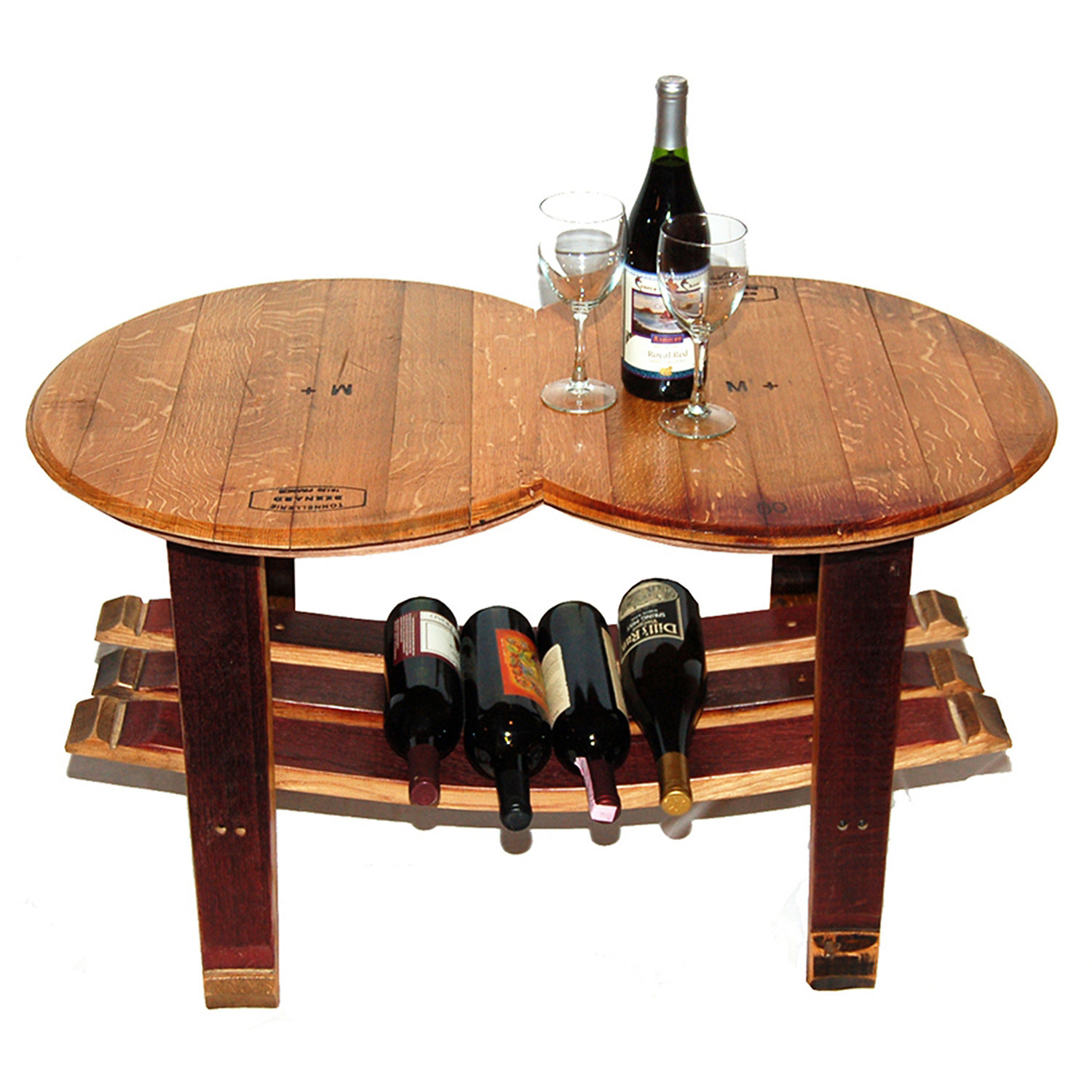Reclaimed Wine Barrel Head Coffee Table with Stave Base Wine