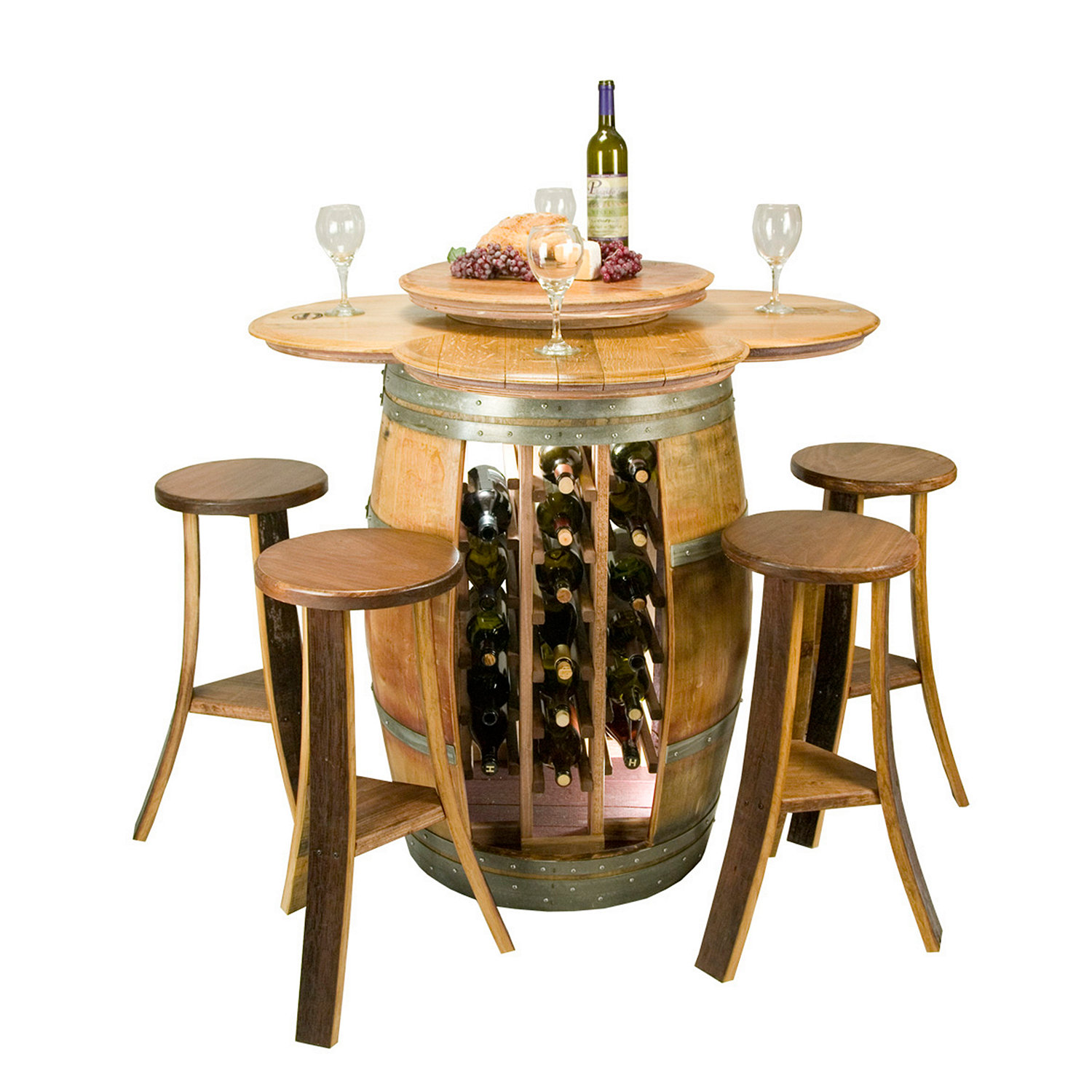 Reclaimed Barrel Table with 28 Bottle Rack and 4 Stave Stools