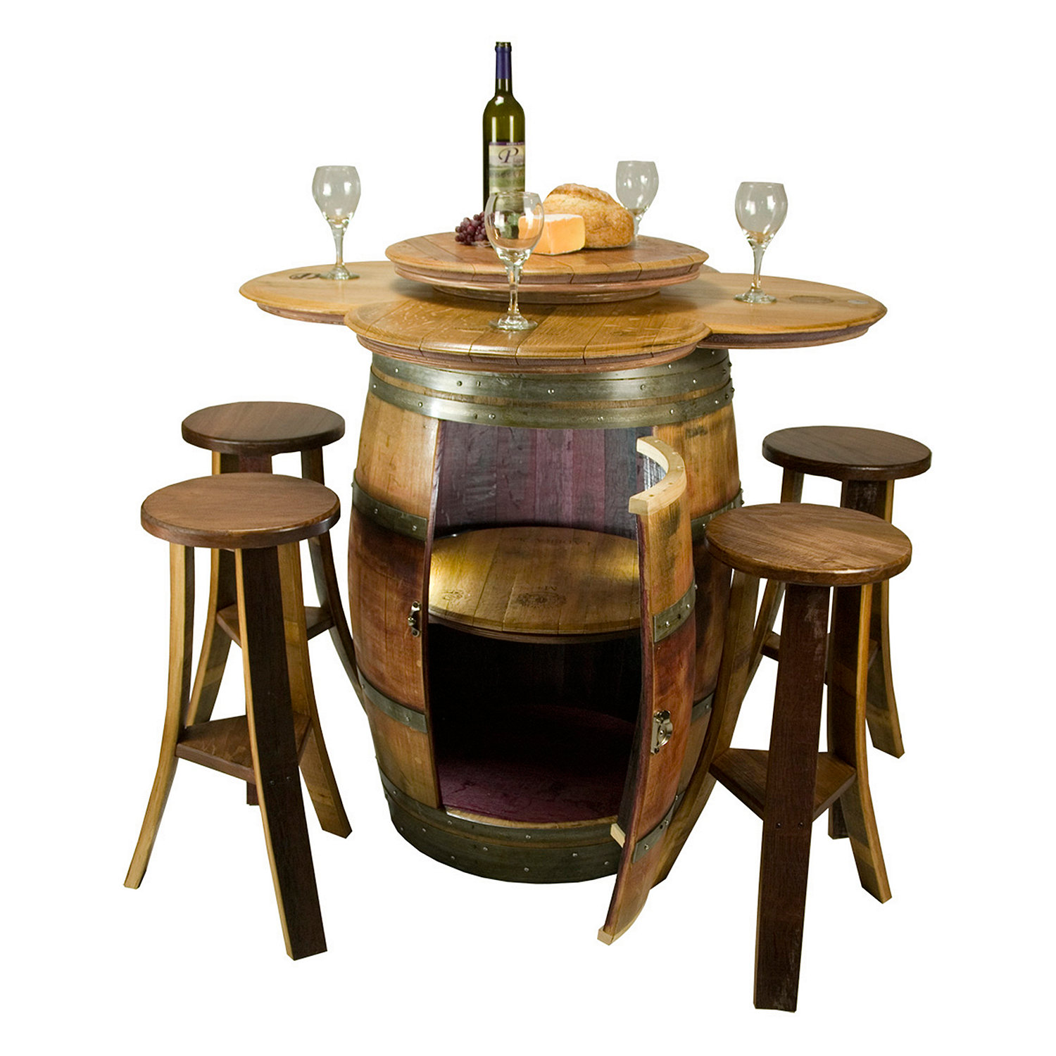 Reclaimed Barrel Table with Storage and 4 Stave Stools Wine