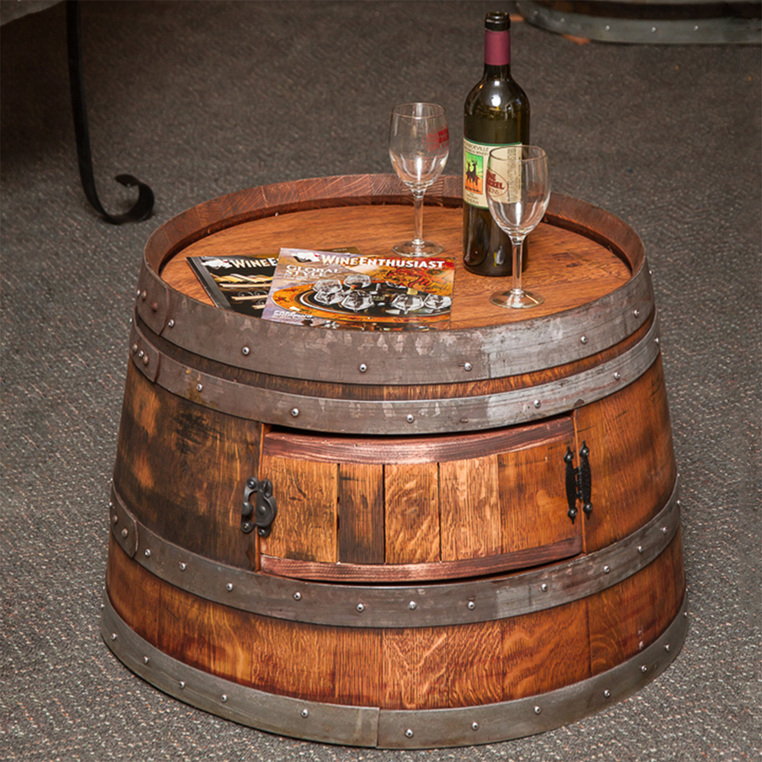 Reclaimed Half Wine Barrel Coffee Table Wine Enthusiast