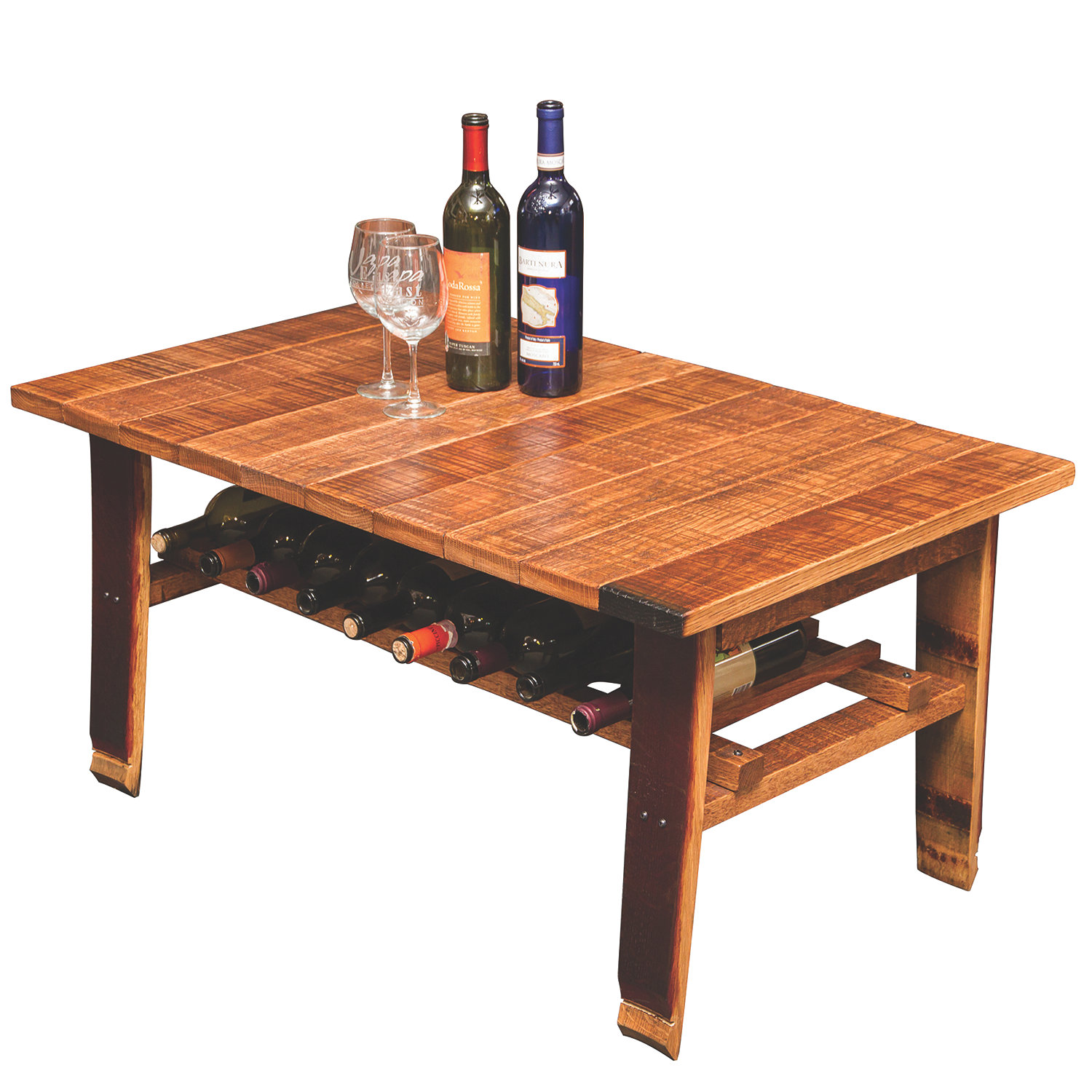 Reclaimed Wine Barrel Stave Coffee Table with Wine Storage Wine