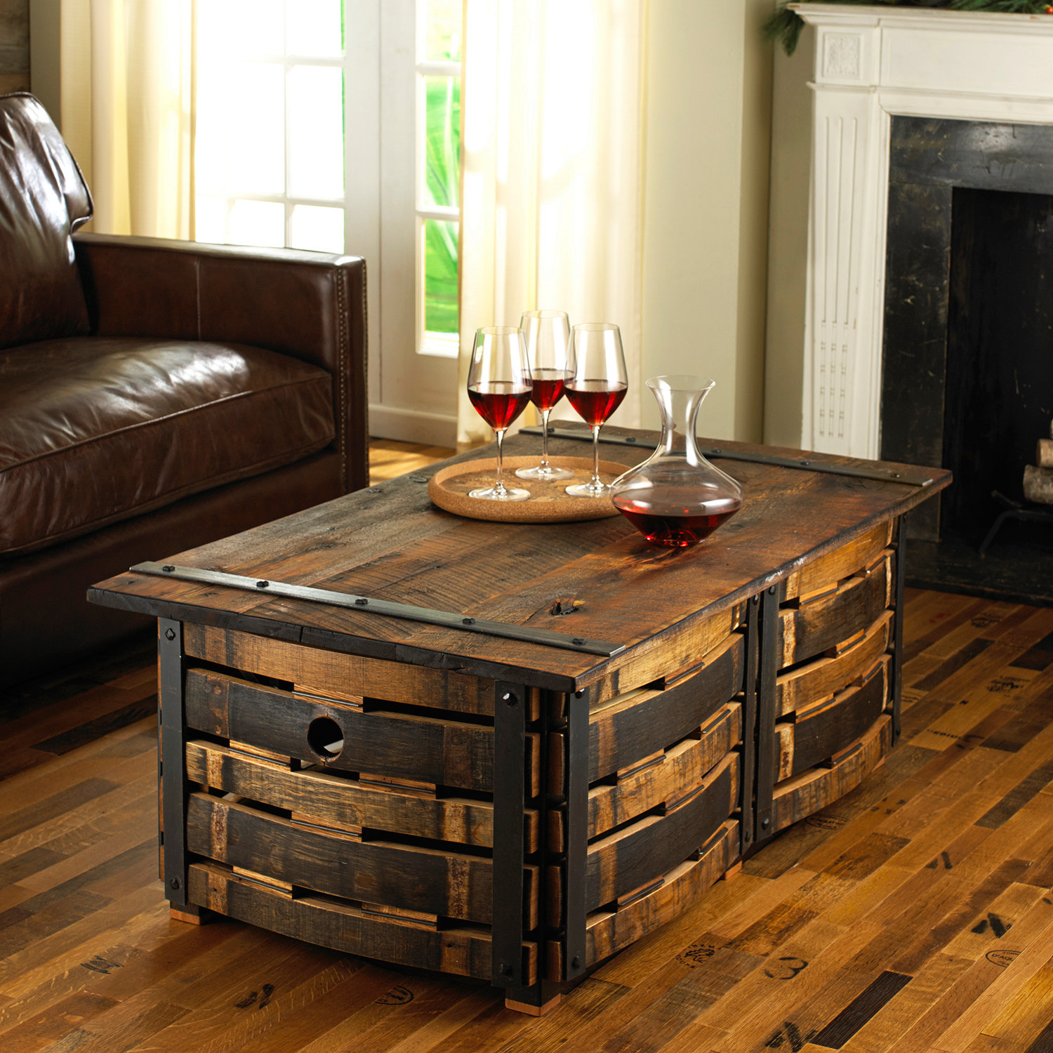 wine barrel stave coffee table preparing zoom arched table top wine cellar furniture
