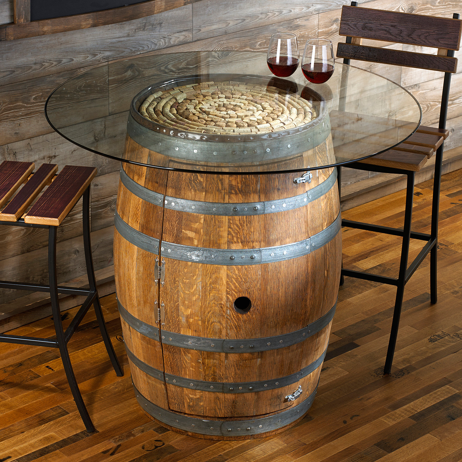 Reclaimed Wine Barrel Pub Table with Glass Top Wine Enthusiast