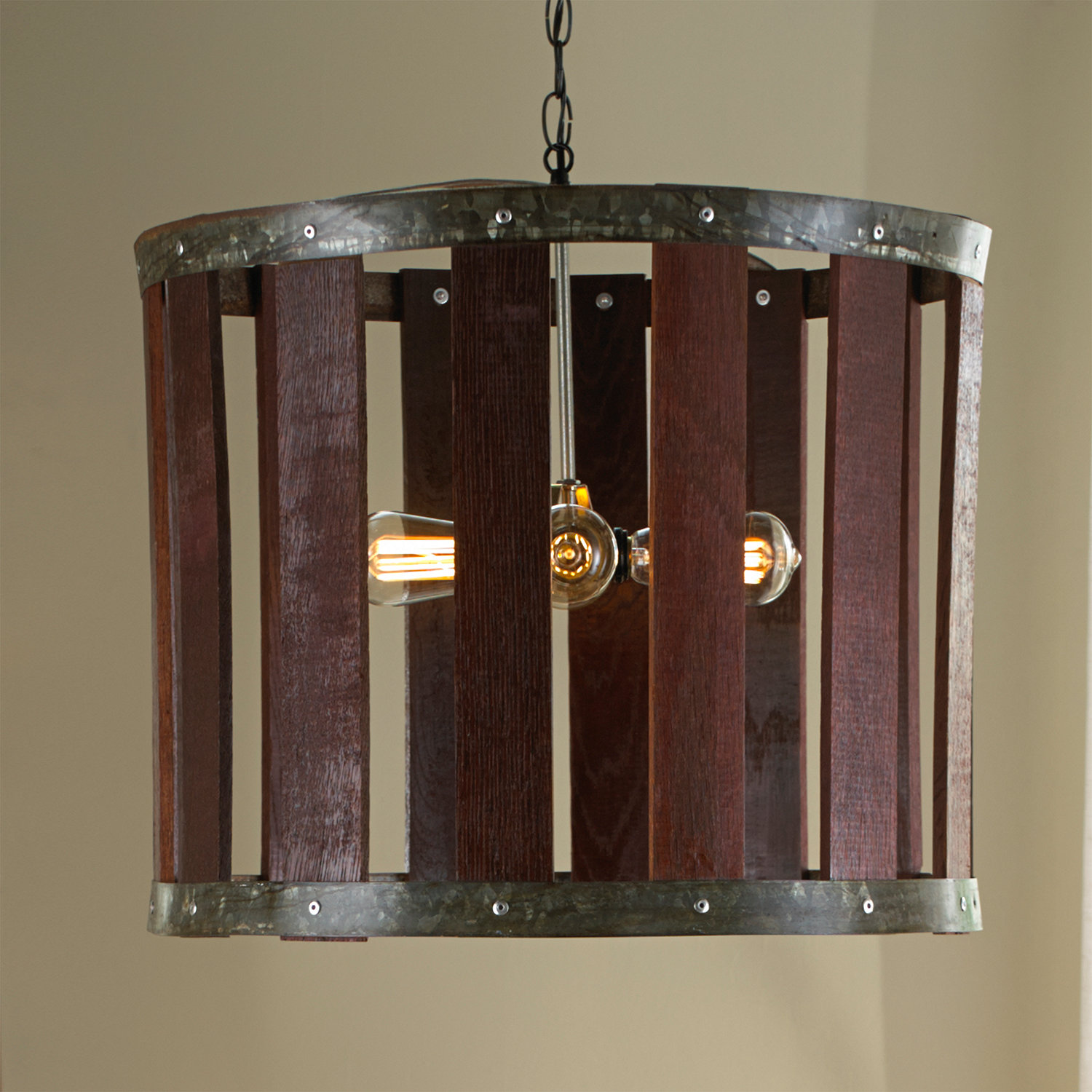 Barrel stave chandelier wine enthusiast barrel stave chandelier preparing zoom mozeypictures Image collections