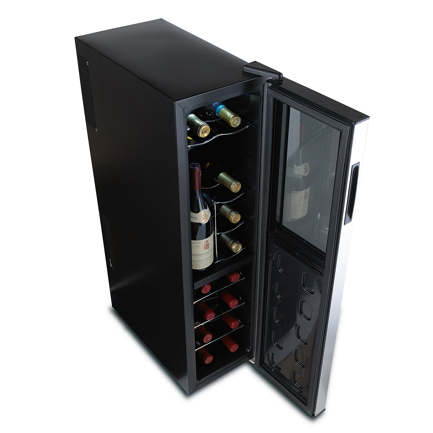 wine enthusiast silent  bottle dual zone wine refrigerator  -  dual zone wine refrigerator slimline with upright bottle storagepreparing zoom