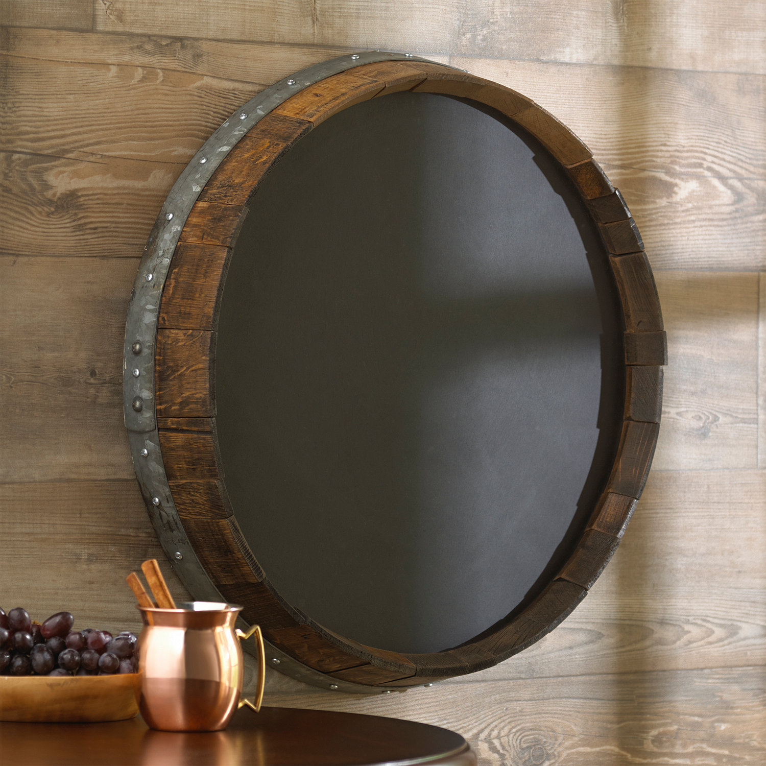 Wine Barrel Wall Decor reclaimed barrel head chalkboard - wine enthusiast