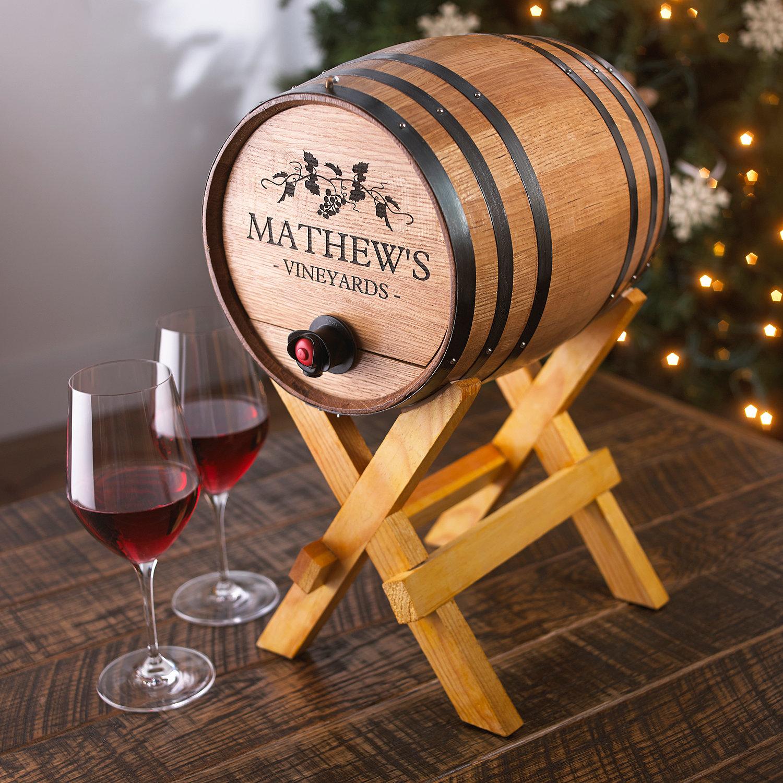 Personalized Boxed Wine Barrel Dispenser