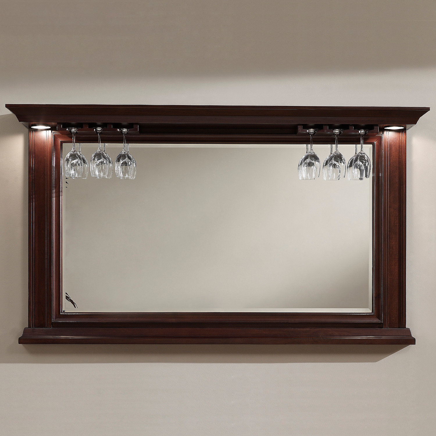 Riviera Bar Mirror Navajo with Wine Glass Rack Wine Enthusiast