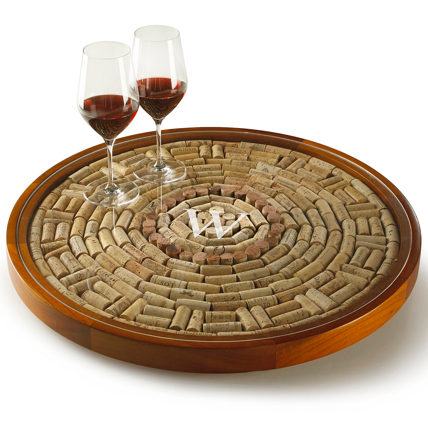 personalized wine cork lazy susan kit - wine enthusiast