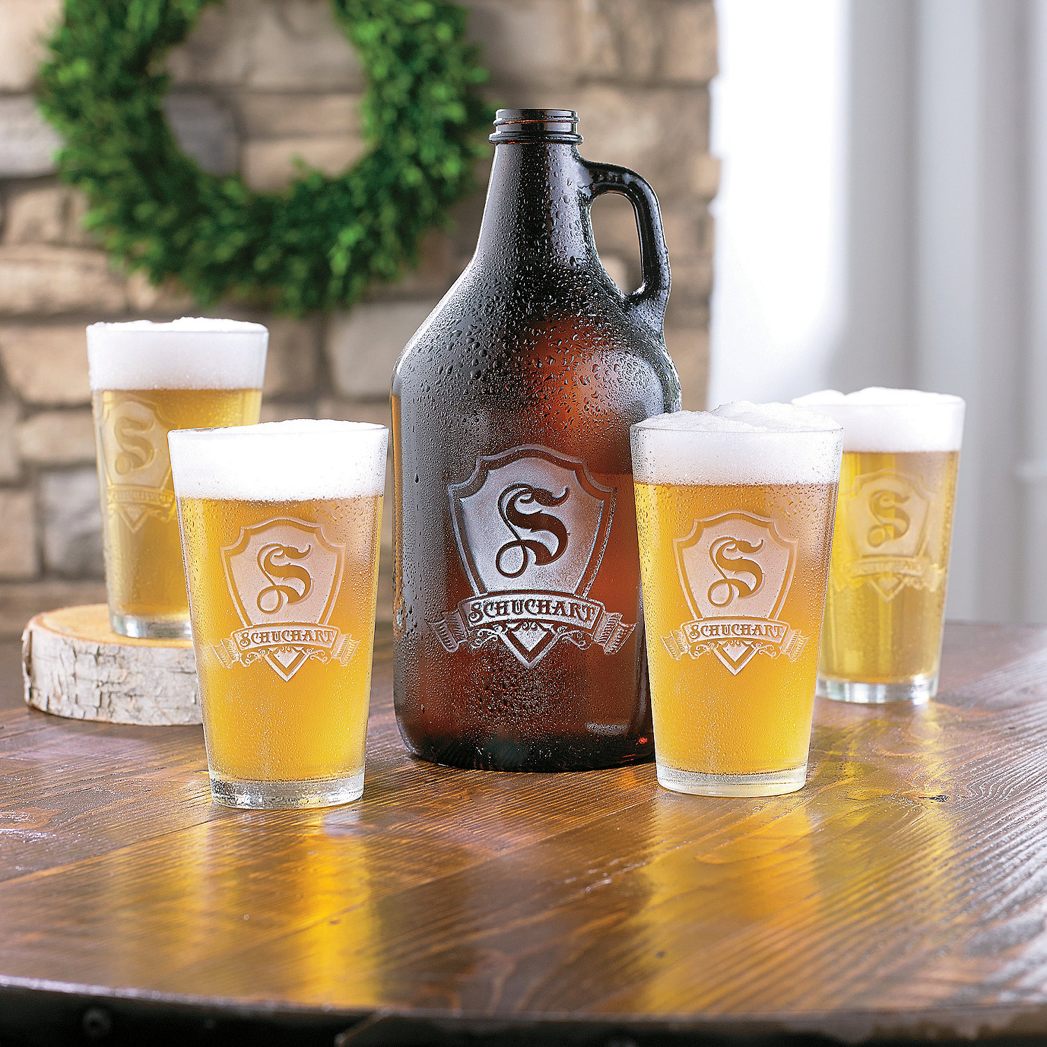 Personalized Shield Growler And Pint Glasses Set Wine Enthusiast