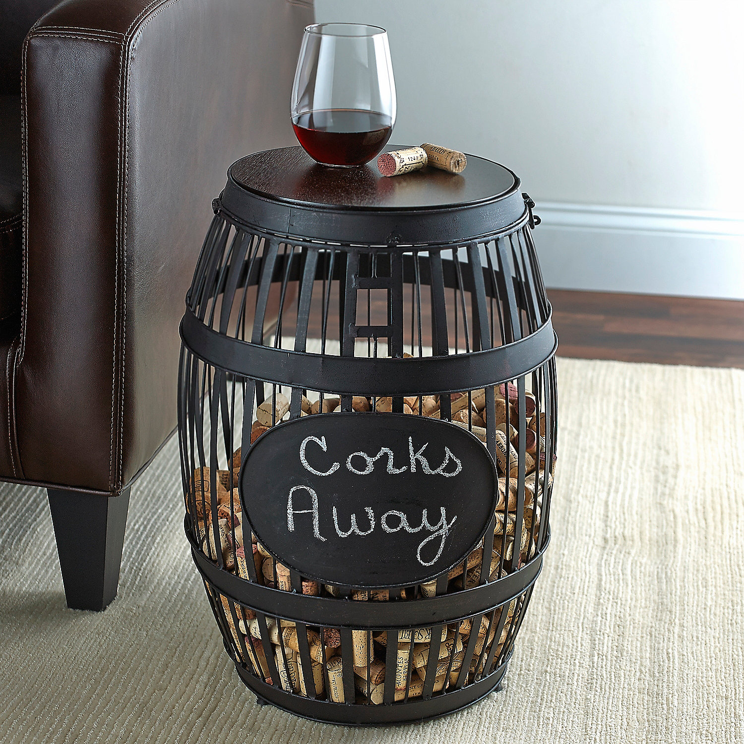 barrel cork catcher accent table - wine enthusiast