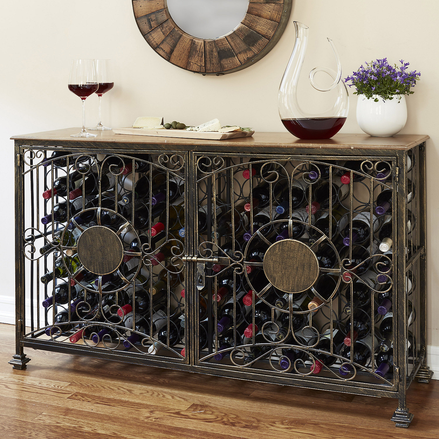 Personalized 19- Bottle Antiqued Steel Wine Jail Console - Wine ...