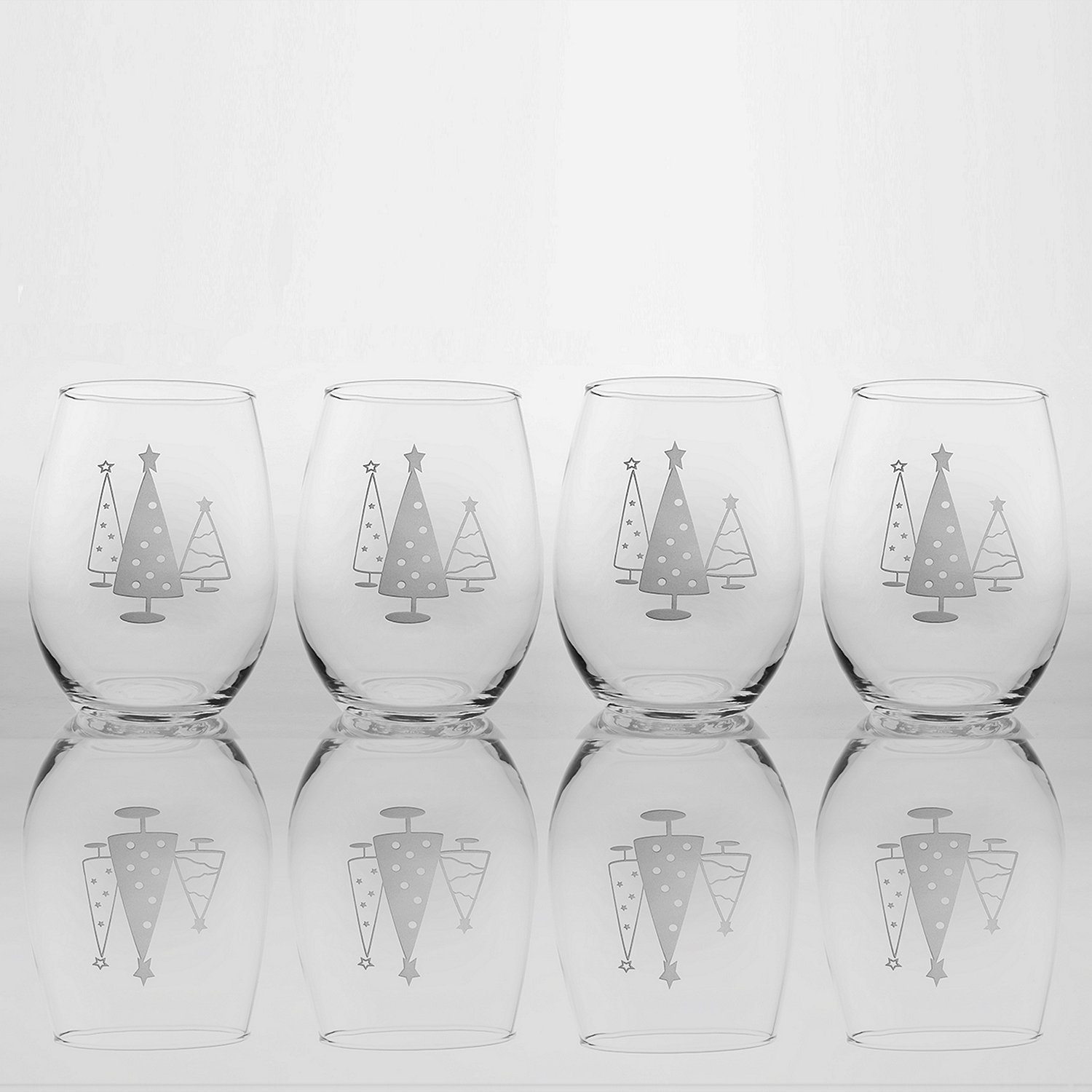 Etched Christmas Tree Stemless Tumblers (Set of 4) - Wine Enthusiast