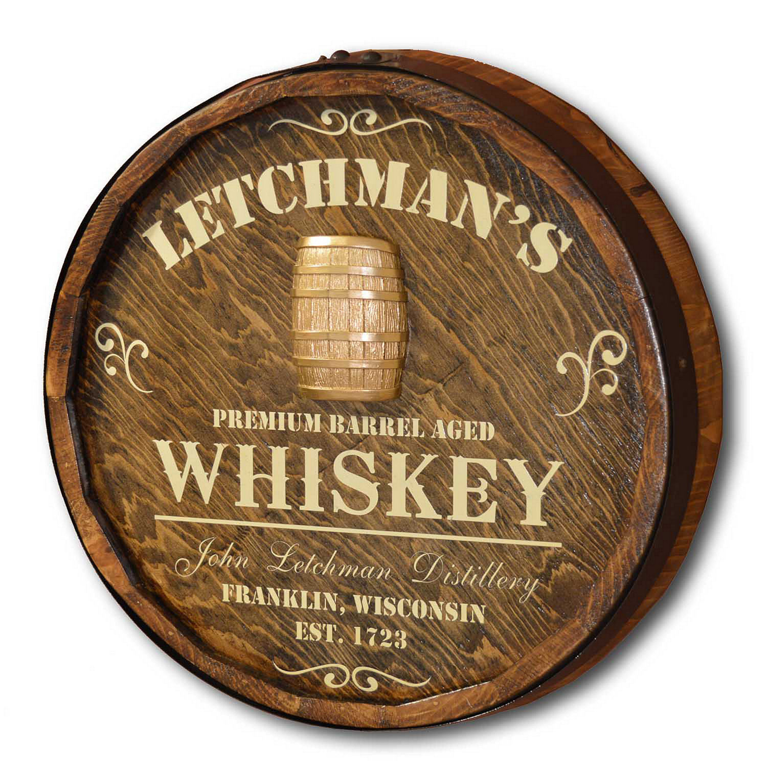 Wine Barrel Wall Decor personalized quarter barrel head with whiskey barrel relief - wine