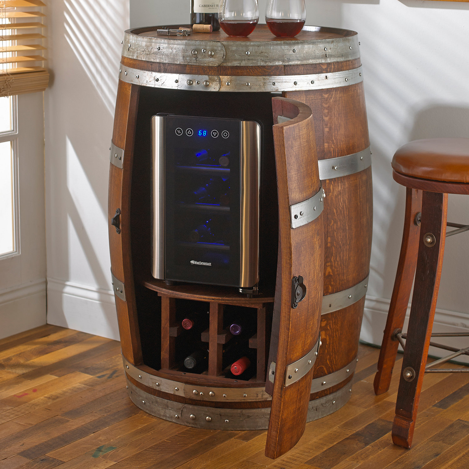 Reclaimed Wine Barrel with 6 Bottle Wine Refrigerator Wine