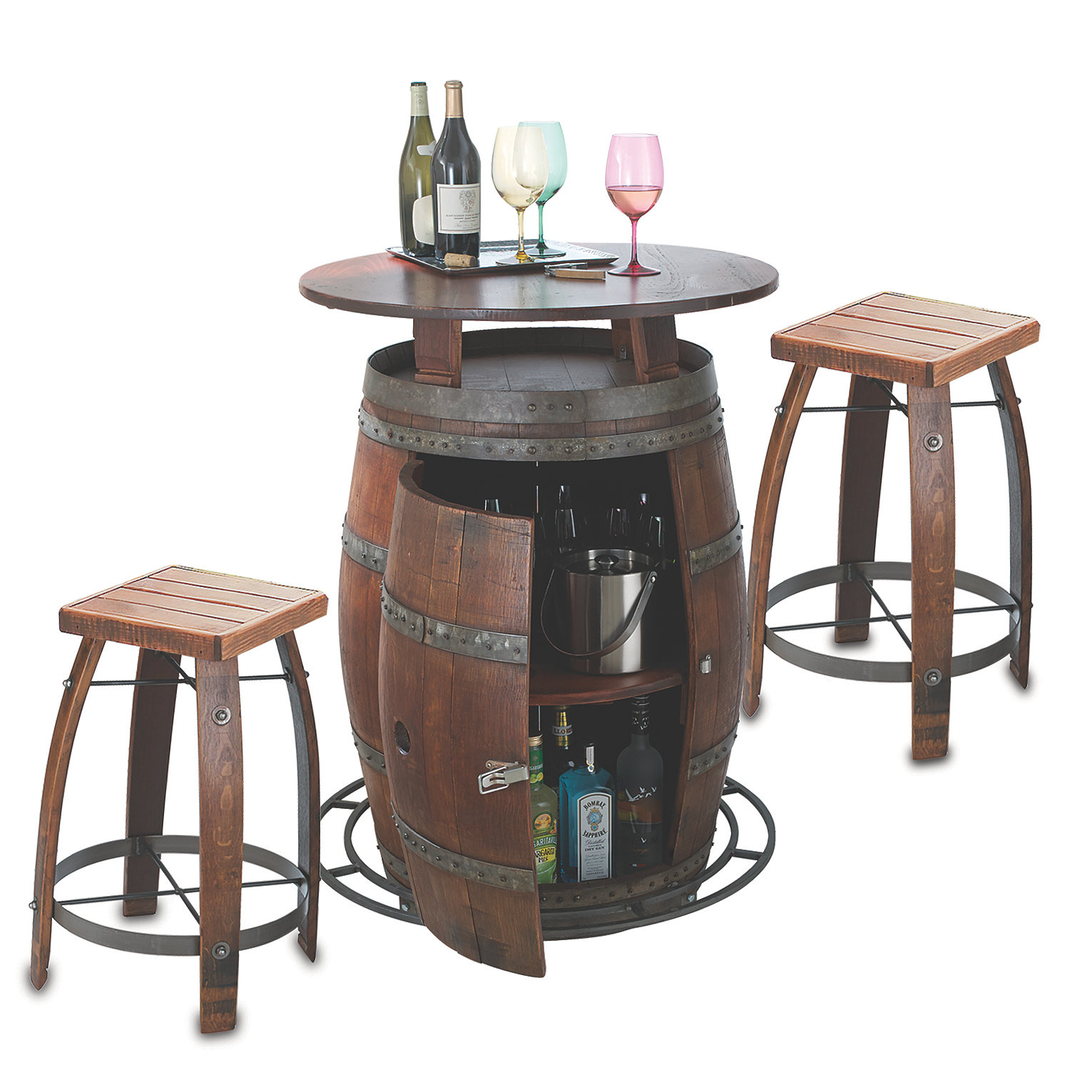 Outdoor Vintage Oak Wine Barrel Bistro Table & Bar Stools Wine