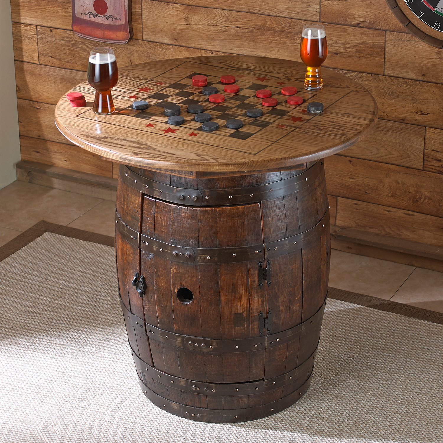 Vintage oak barrel table and chairs - Houzz