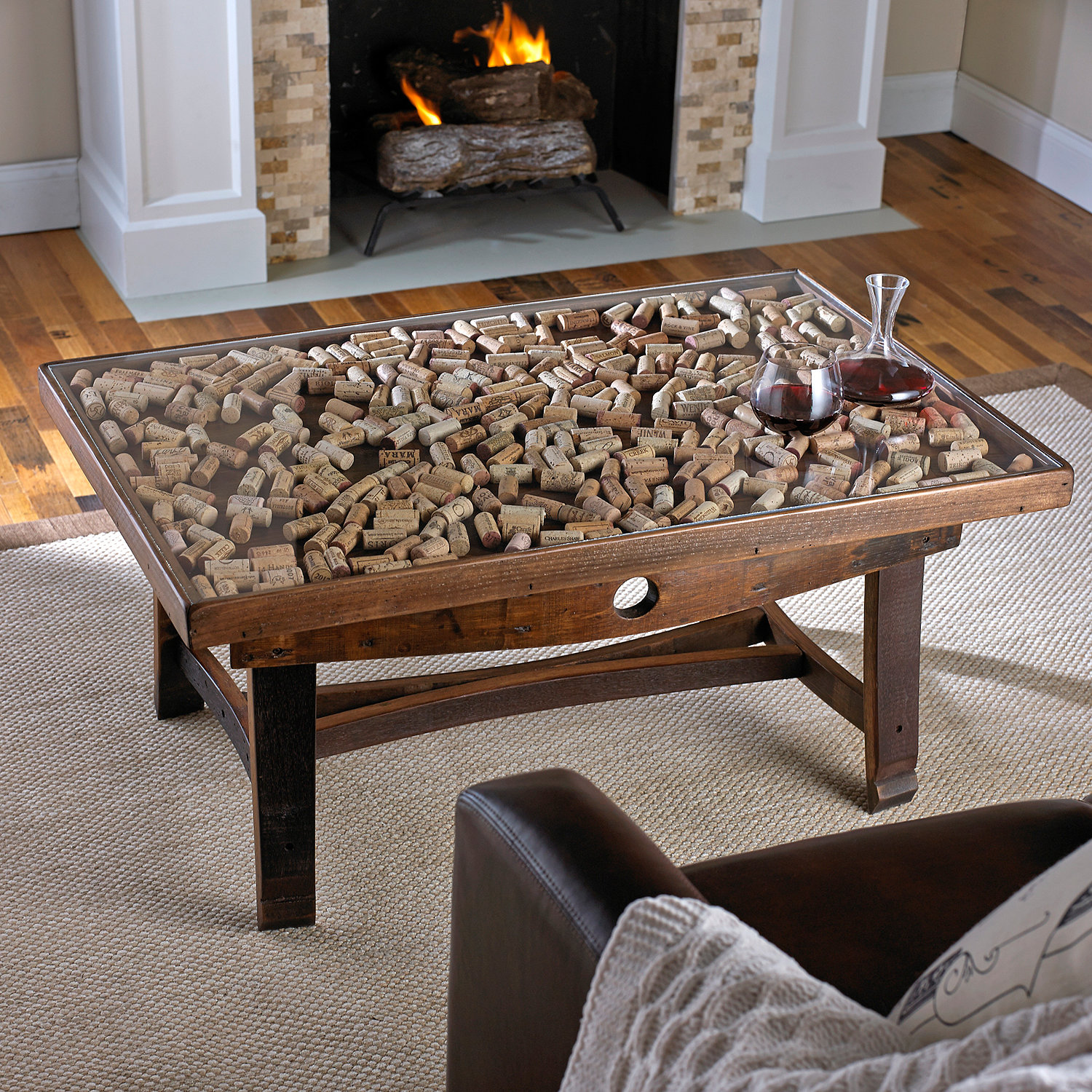 Collector s Display Top Coffee Table with Barrel Stave Legs Wine