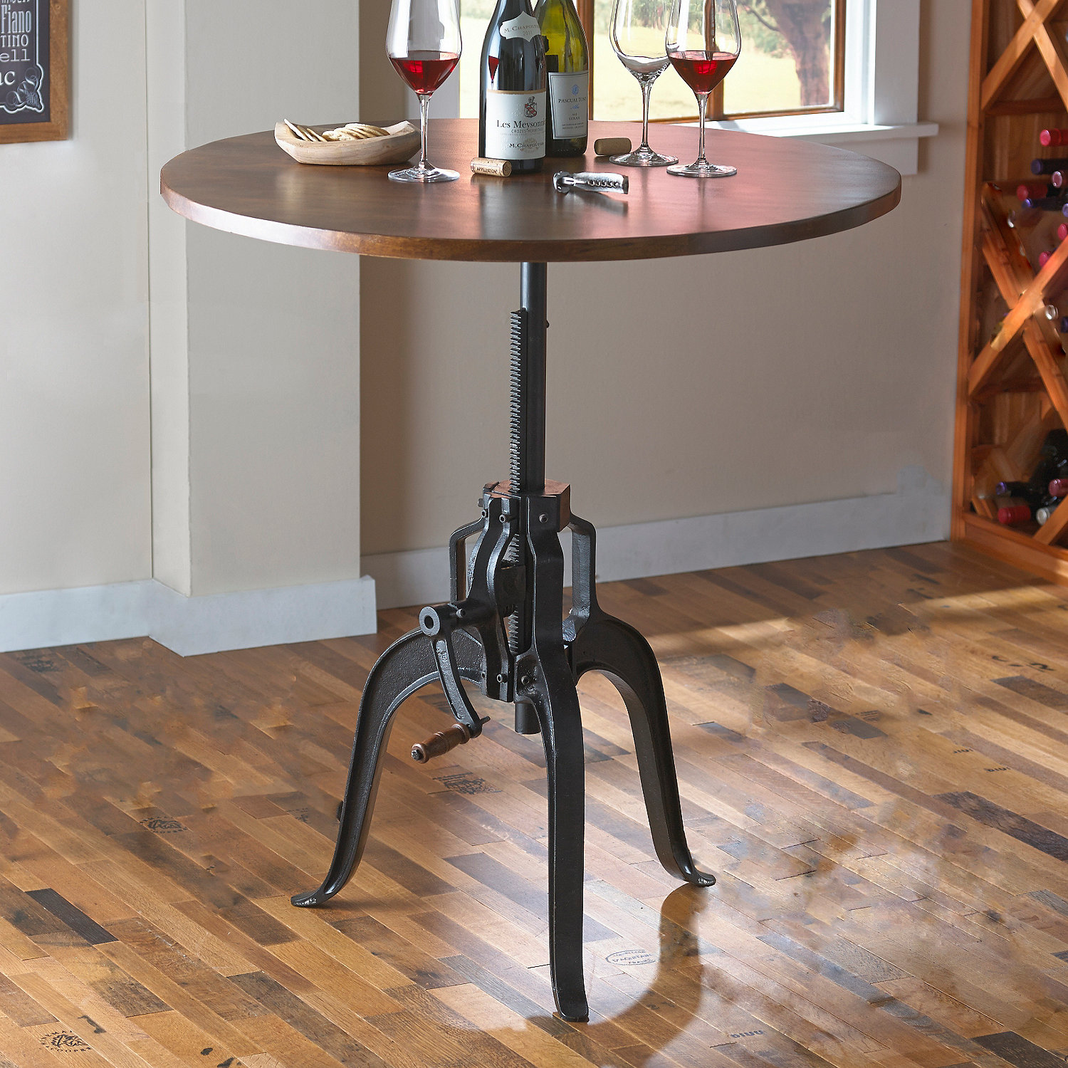 Industrial Crank Table Industrial Crank Base Pub Table  Wine Enthusiast
