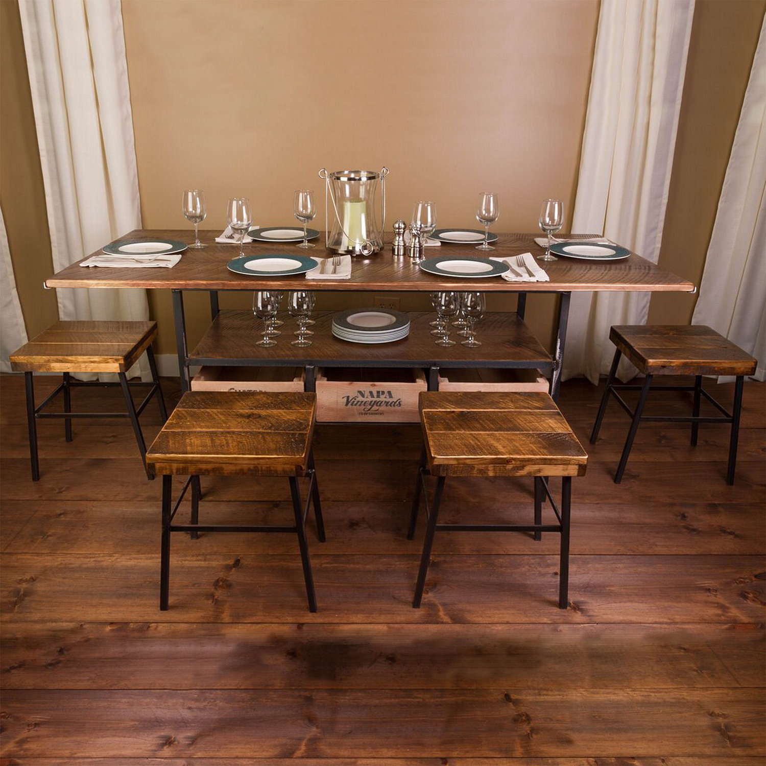 ... Farm Style Dining Table With 4 Cellar Stools. SALE. Preparing Zoom