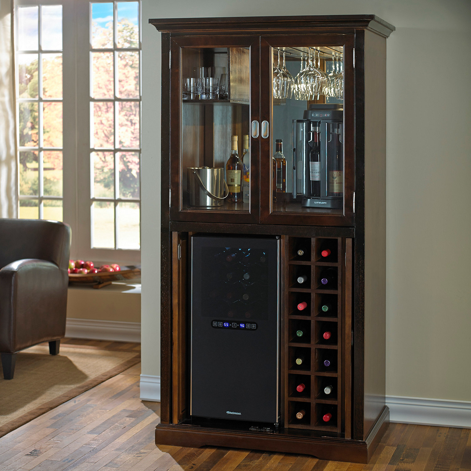 Firenze Wine and Spirits Armoire Bar with 32 Bottle Touchscreen Wine