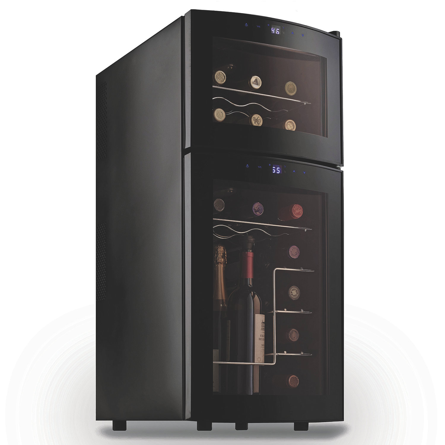 wine enthusiast silent  bottle dual zone wine refrigerator with  -  dual zone wine refrigerator with curved doors preparing zoom