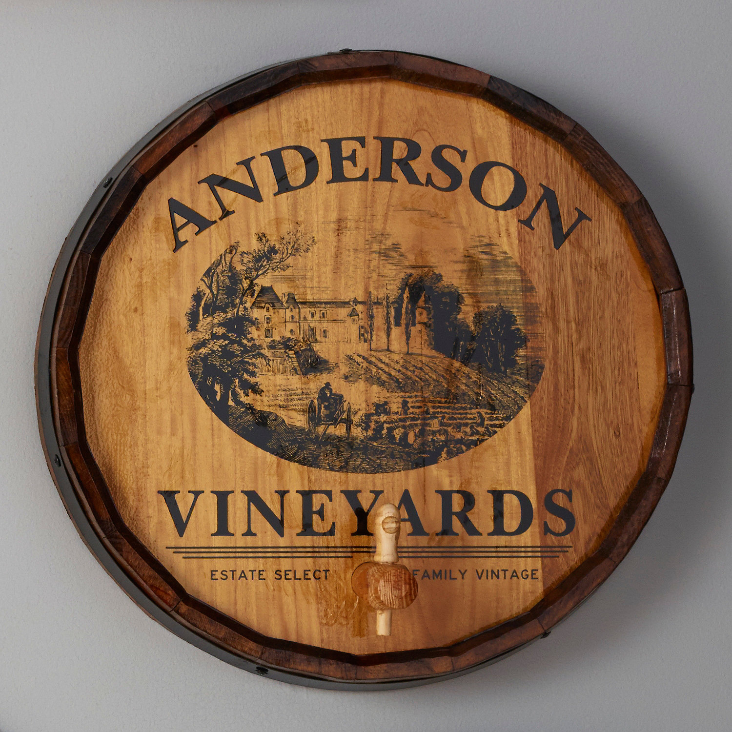 Personalized Quarter Barrel Head Sign with Spigot Vineyard