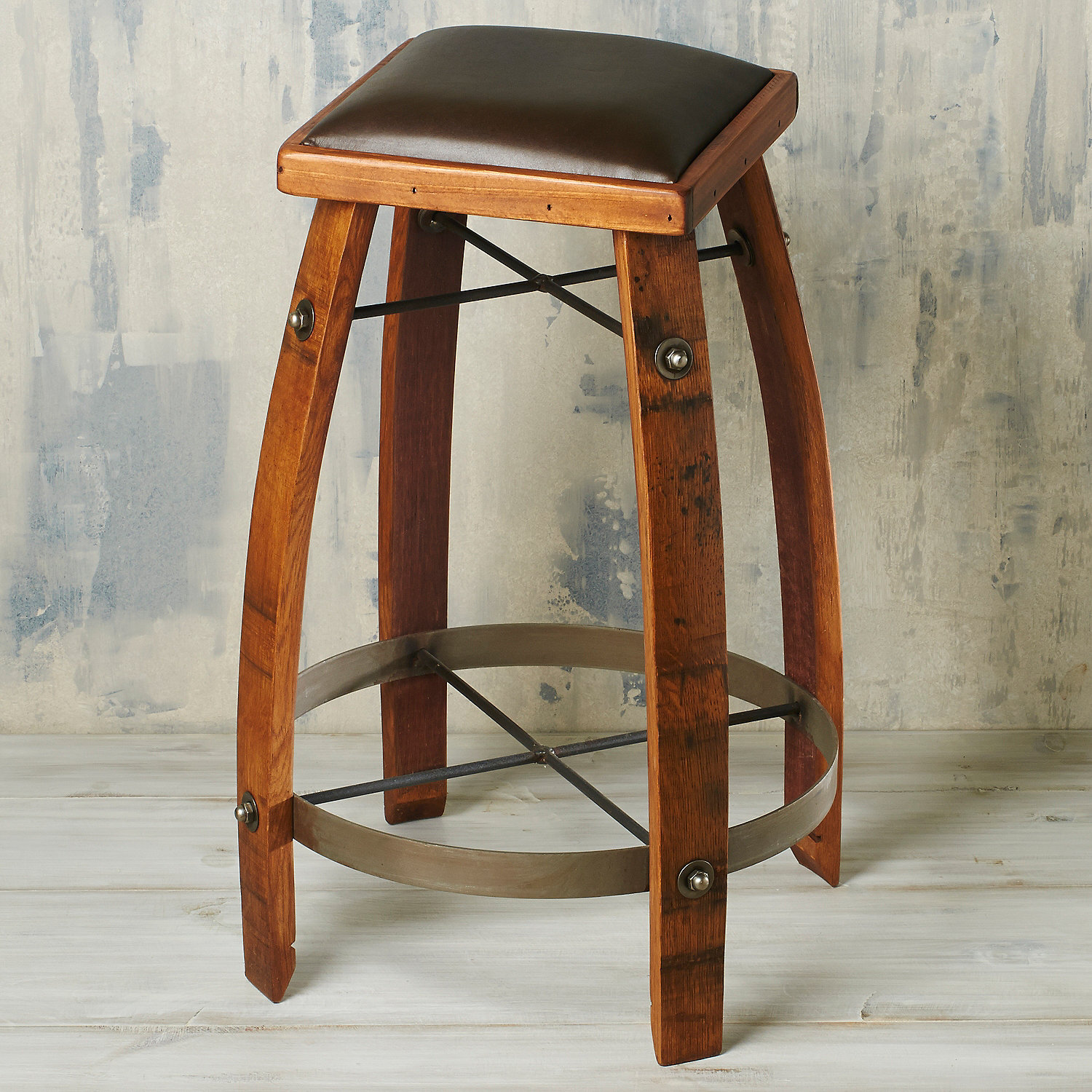 Vintage Oak Wine Barrel Bar Stool 28 Inches with Chocolate Leather