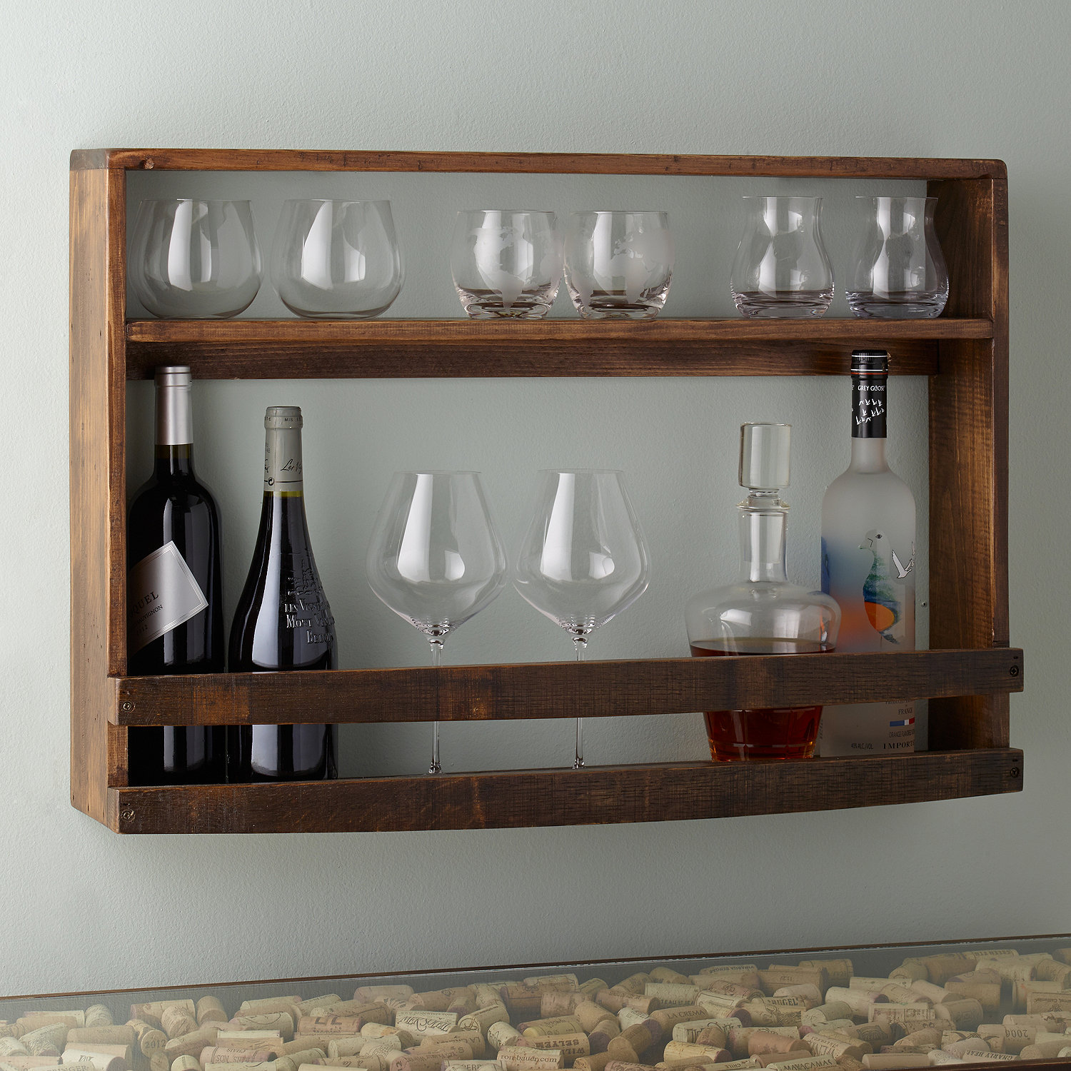 reclaimed barrel stave wine and spirits wall rack  wine enthusiast -  wine and spirits wall rack preparing zoom