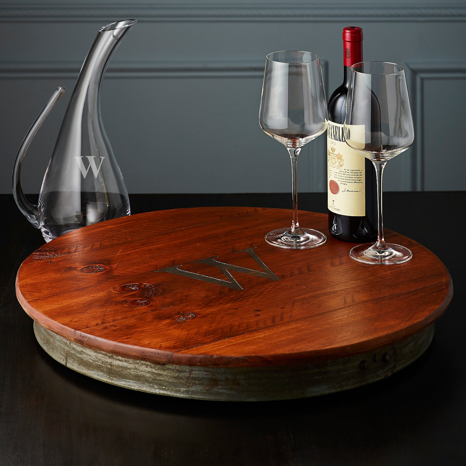 raised wine barrel lazy susan with single initial