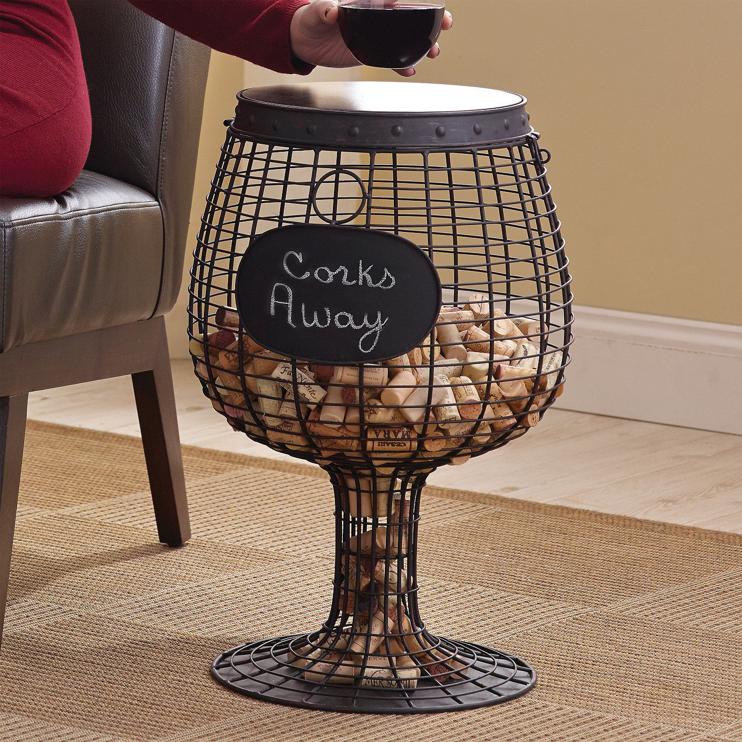 wine glass cork catcher accent table - wine enthusiast