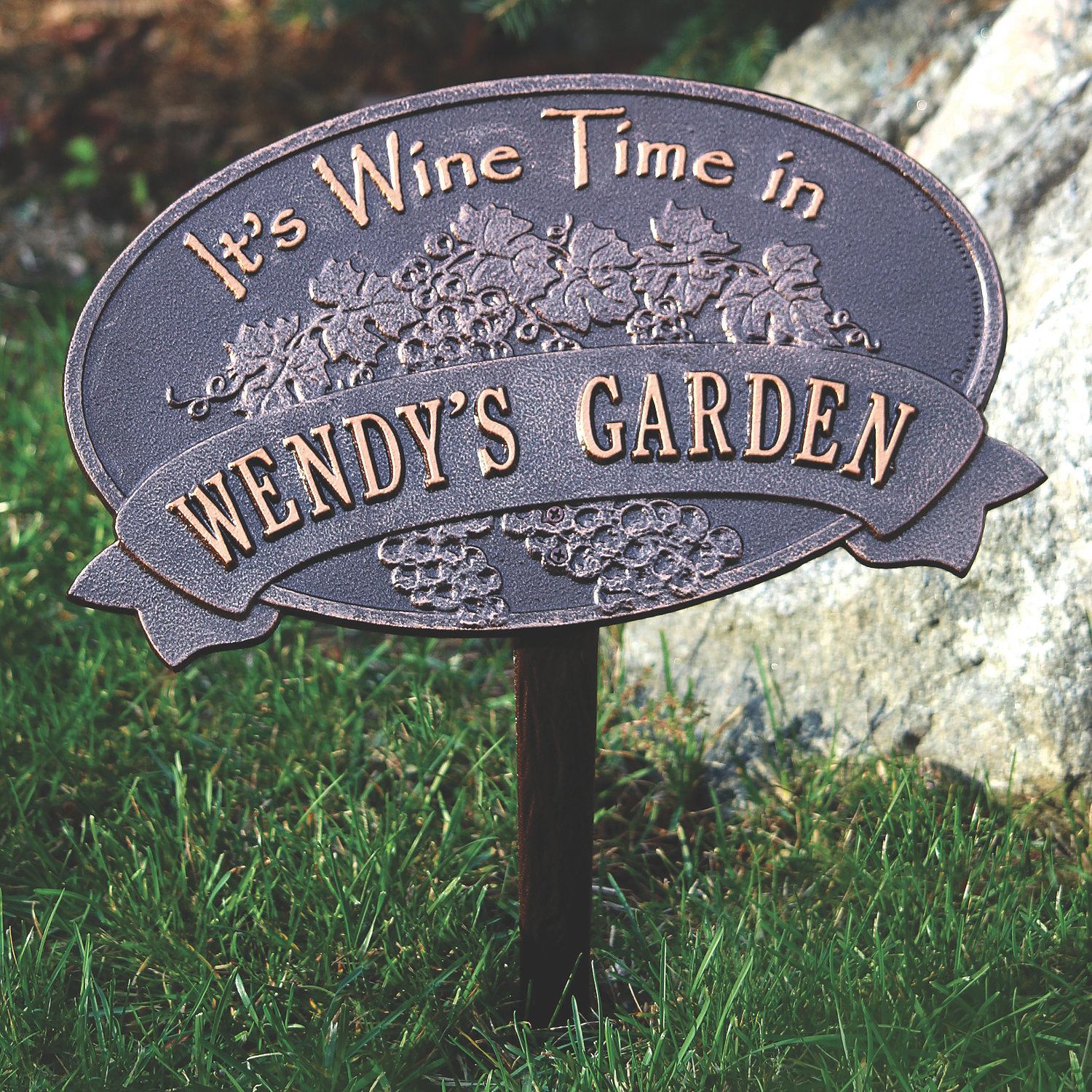 Personalized Wine Time Garden Plaque Wine Enthusiast