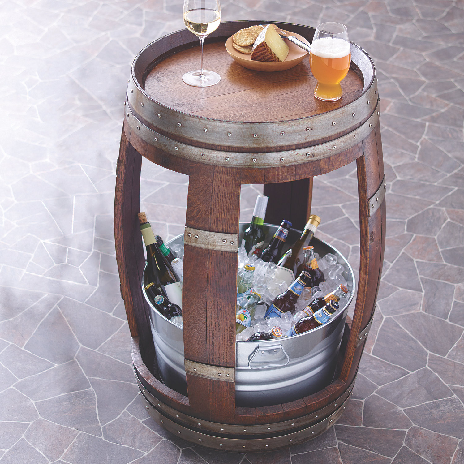 wine barrell furniture. wine barrel table with chiller preparing zoom barrell furniture