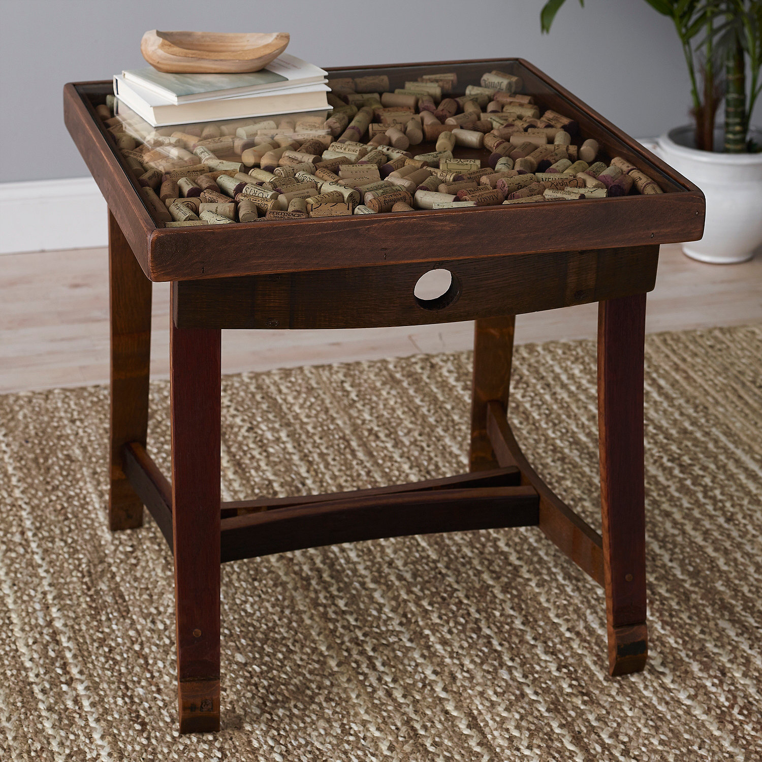 Collector s Display Top End Table with Barrel Stave Legs Wine